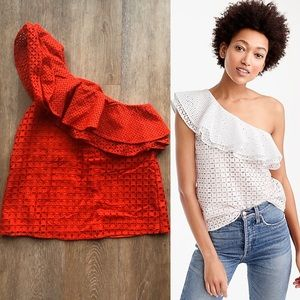 J. Crew Red One Shoulder Ruffle Eyelet Top, 8P